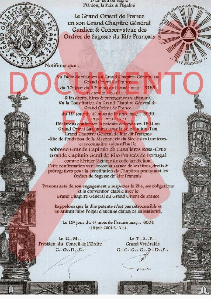 carta patente falsificada